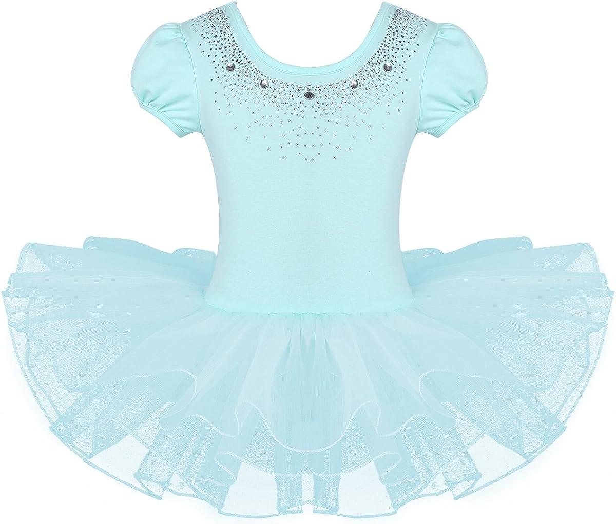 QinCiao Short Sleeve Rhinestone Indefinitely Ballet Tutu Dress Toddler Ki for Popular brand