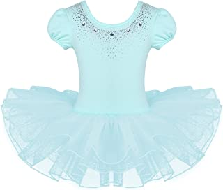 FEESHOW Kids Girls Short Sleeve Sparkle Rhinestone Dance Costumes Ballet Leotard Tutu Dress