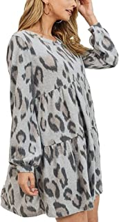 RBBK Women's Super Soft Brushed Knit Cheetah Print Tiered Baby Doll