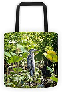 Blue Heron Tote Bag Carrying Case Purse Lake Bird Lover Big Bird Water Integrative Therapeutics Art Decor Art Series Lawn Wall Ornament Series Book Drone Seed Feeder Strap Case Lap Tops Diapers Bab