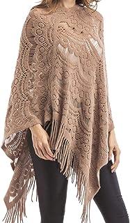 Guiran Ladies Floral Lace Asymmetric Tassel Knitted Cloak Coat Womens Wrap Shawl Knitwear Poncho Cape