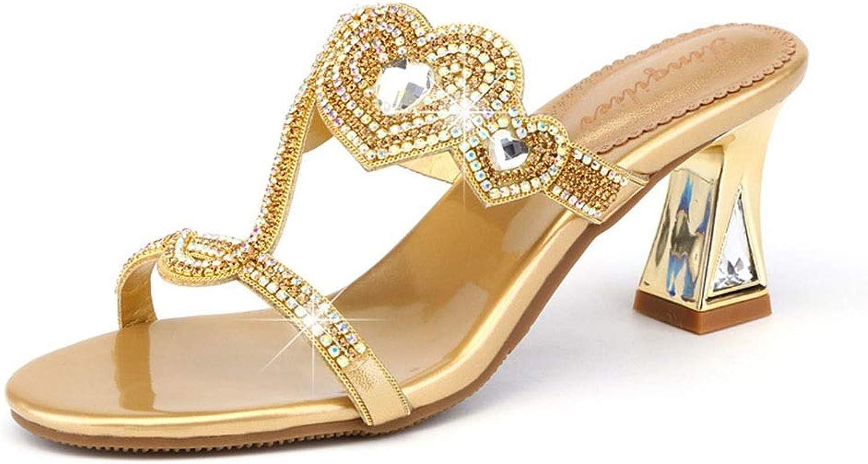 YongFeng Frauen Strass Hausschuhe Sommer Koreanische Version der neuen Sandalen mit Absatz und Absatz aus Leder und Diamanten mit dicken und eleganten rmischen Schuhen