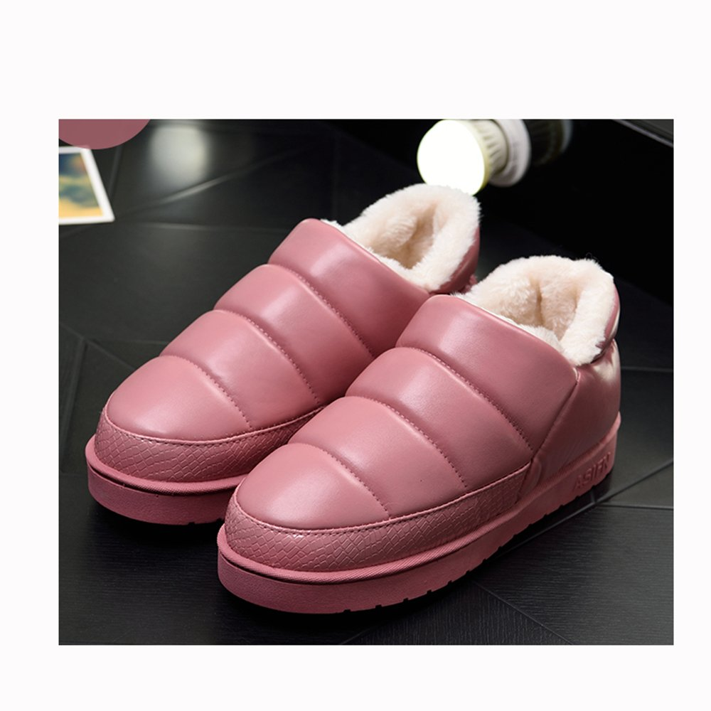 ASIFNコットンスリッパ女性の冬カップルホームホーム屋内防水滑り止めの毛皮の暖かさ厚い月の靴の男性と一緒にバッグ