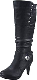 FZ-Win-45 Women's Fashion Round Toe High Heel Platform Zipper Knee High Boots