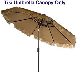 Hawaiian Style Patio Replacement Cover for 9ft Market Umbrella Replacement Canopy 8 Ribs Thatch Patio Tiki Umbrella Tropical Palapa Raffia Tiki Hut Hawaiian Hula Umbrella Canopy Only Natural
