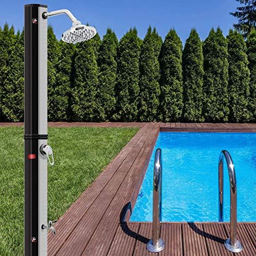 MUPAI Solardusche 35 Liter Solar Gartendusche | warmes Wasser | max. 60°C | ohne Stromanschluss | Pooldusche Camping| Regenduschkopf und Wasserhahn | Gartenschlauch-Anschluss |