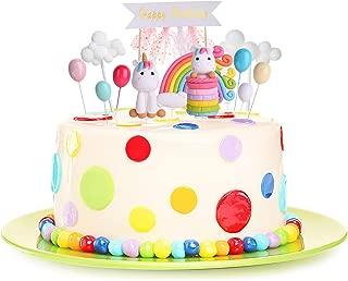 EKKONG Unicorn Rainbow Cake Topper Birthday Wedding Cake Flags With Cloud Balloon Cake Flag For Birthday Wedding & Baby Shower Birthday Party Decoration Supplies