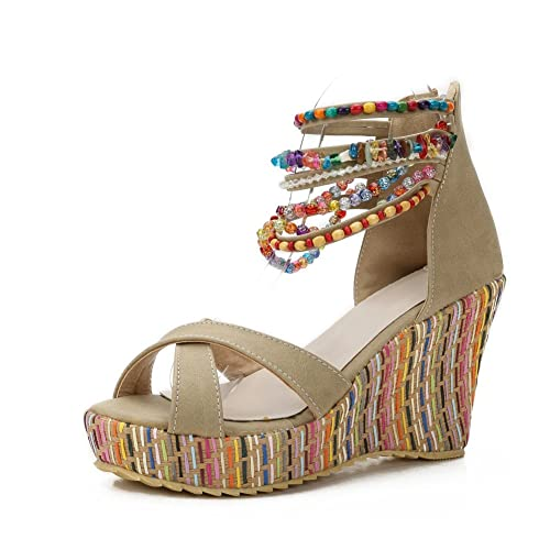 52b8f88bde7 MAIERNISI JESSI Women s Colorful Bohemian Style Wedge Heel Beaded Sandals