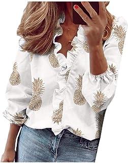 Doufine Women Flounce Casual V Neck Loose Solid Color Blouse Top