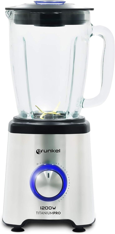 Grunkel - BAT-1200TITANIUMPRO - Batidora de vaso potente con capacidad para 1,75L, 6 cuchillas de titanio, 5 velocidades, función PULSE, botón iluminado y vaso con rosca resistente - 1200W