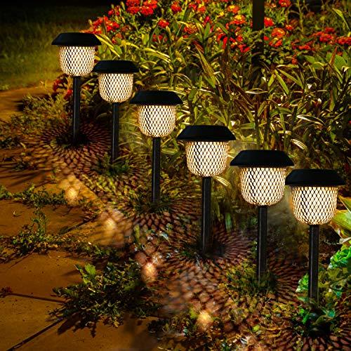 Lampada Solare Giardino GolWof 6 Pezzi Luci Per Paesaggio Impermeabile LED Luci Solari Esterno Senza Fili Luci da Giardino Non Arrugginisce Ricarica Automatica Giallo Luci Caldo per Prati Vacanza