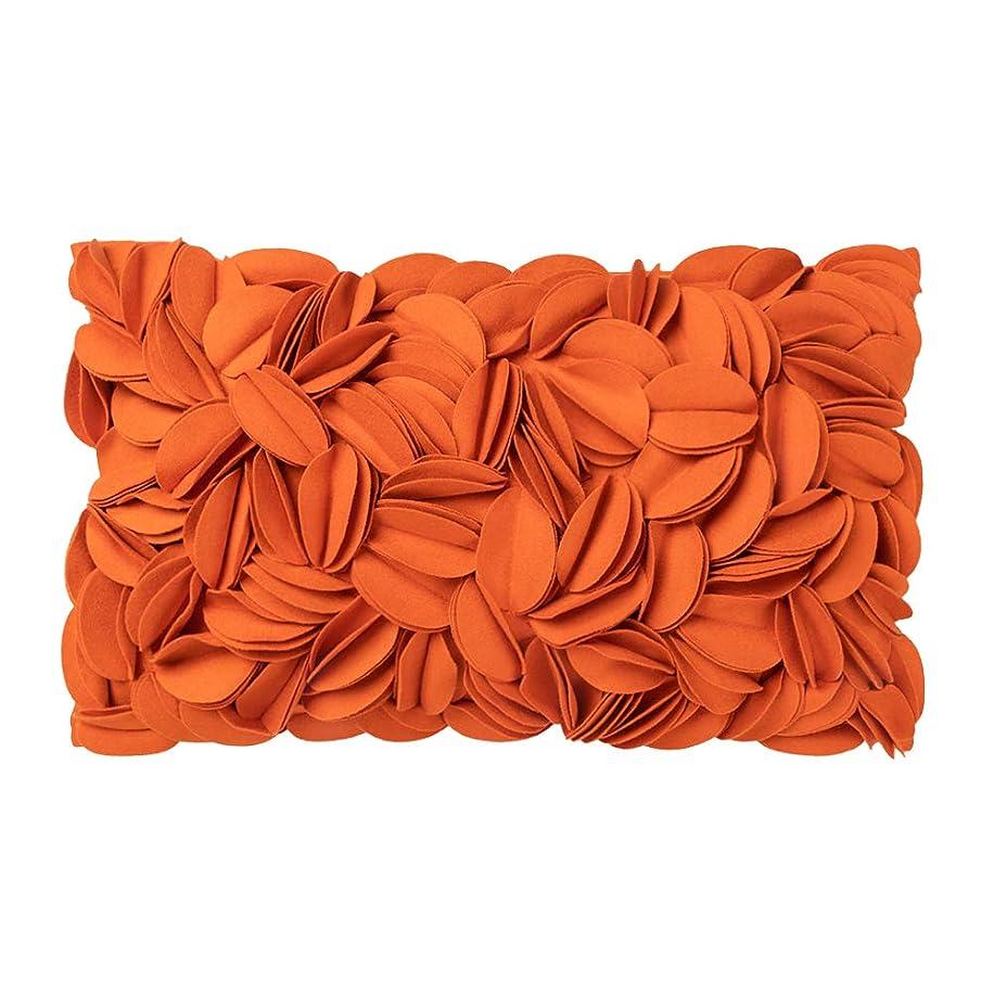 水を飲む受け入れ湿原(30cm x 50cm, Orange) - King Rose Handmade 3D Floral Decorative Throw Pillow Case Solid Wool Cushion Cover 30cm x 50cm Orange
