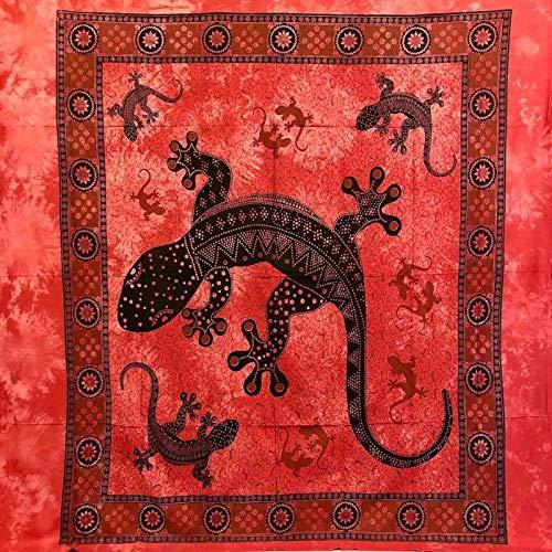 Geko Überwurf, groß, 210 x 230 cm, 100 prozent Baumwolle, Sofaüberwurf mit Fransen Batik (rot)