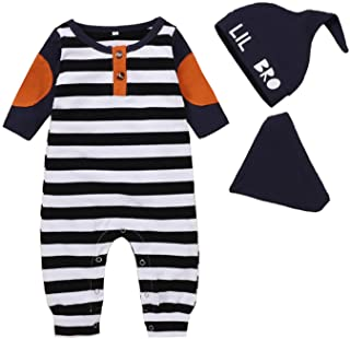 HINK Conjunto y Conjuntos para niños, recién Nacido, bebés, niños, niñas, Parche, botón a Rayas, Mono, Mameluco, Gorro y B...