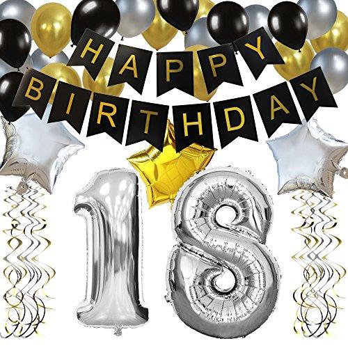 """KUNGYO Clásico Decoración de Cumpleaños -""""Happy Birthday"""" Bandera Negro;Número 18 Globo;Balloon de Látex&Estrella, Colgando Remolinos Partido para el Cumpleaños de 18 Años"""