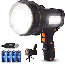 Most Powerful Rechargeable Hand held Spotlight Flashlight Led High 6000 Lumens Super Bright Large 4 Battery Powered 10000m...