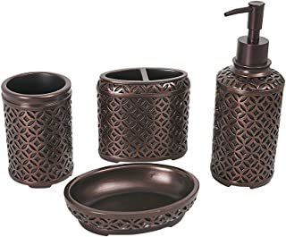 YangShiMoeed 4-Piece Orbs Bathroom Accessories Set - Includes Toothbrush Holder, Tumbler, Soap Dish, Dispenser Pump - Simple Metal Design