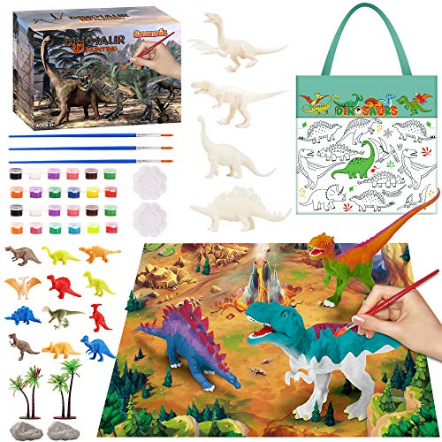Swangnic Kids Arts Crafts Set, DIY Toys 30 Pcs Dinosaur Toys Painting Kit with Paintable Handbag, Fluorescent Pigment, Realistic Dinosaurs Toys for 4 5 6 7 8 9 Years Old Boys & Girls, DIY Toy Set…