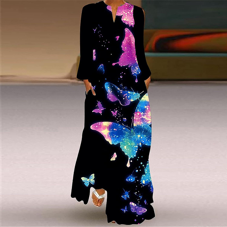 5665 Womens Long Sleeve Dresses Casual V Neck Loose Summer Plus Size Dress Bohemian Print Tunic Swing T-Shirt Dresses