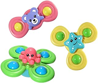 Anjetan 3PCS Suction Cup Baby Toys Plastic Funny Interactive Suction Cup Spinner Toy Baby Rattle Toy Suction Cup Toys for ...