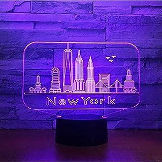Luz de noche Edificio de la ciudad de Nueva York Luz de noche en 3D Atmósfera LED colorida Lámpara de mesa de dormitorio Lovely 7 Cambio de color 3D USB Luz de noche
