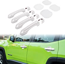 Door Handle Cover with Smart Keyhole and Cup Bowl Cover Trim Combo for 2015 2016 2017 2018 Jeep Renegade(12 PCS) (White)