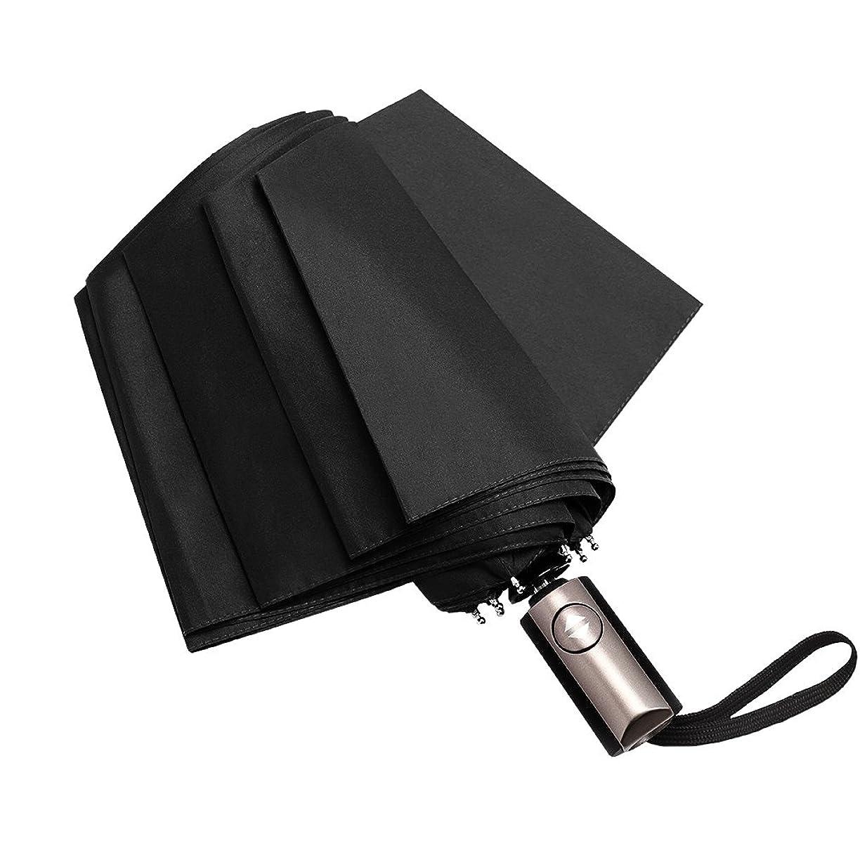 偏心急速なブルジョン折りたたみ傘 自動開閉 おりたたみ傘 メンズ 強力撥水加工 晴雨兼用 軽量 Corrdirec (ブラック)