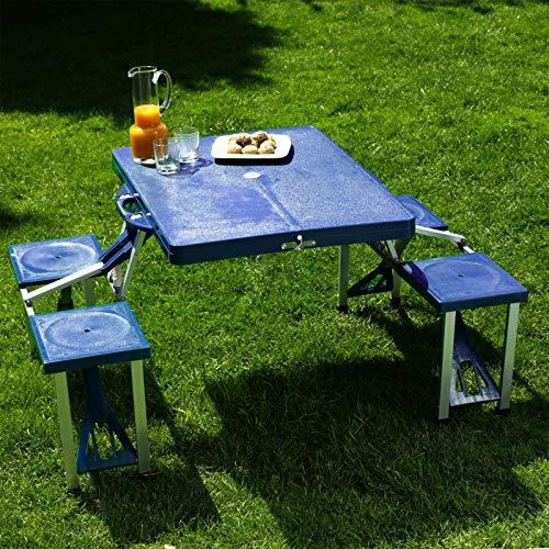Wiltec Camping Sitzgarnitur mit 4 Sitzplätzen klappbare Sitzgruppe aus Kunststoff Campingtisch klappbar