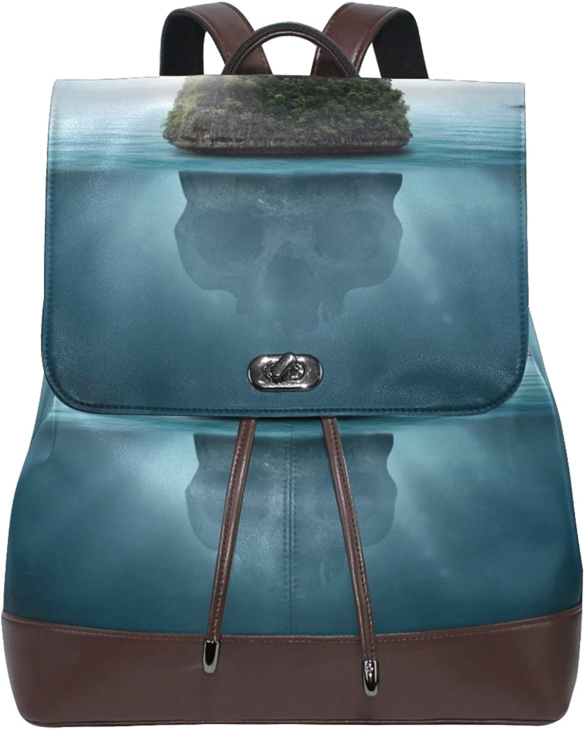 ALAZA Leather School Backpack Drawstring Island Skullfor Women and Girls Casual Laptop Duffel Bag