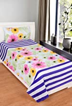Roseate Comfort Collection 144 TC Glace Cotton Single Bedsheet with 1 Pillow Cover, Multi Colour