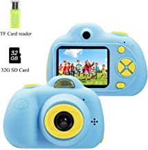 Kids Camera Children Digital Cameras for Boy Front Rear Dual-lens Soft Silicone Shell 8 Mega Pixel 2.0 inch HD Screen, Flash Light, Great Gift for 3-10 Year Old Girls Boys (32G Card included) (Blue)