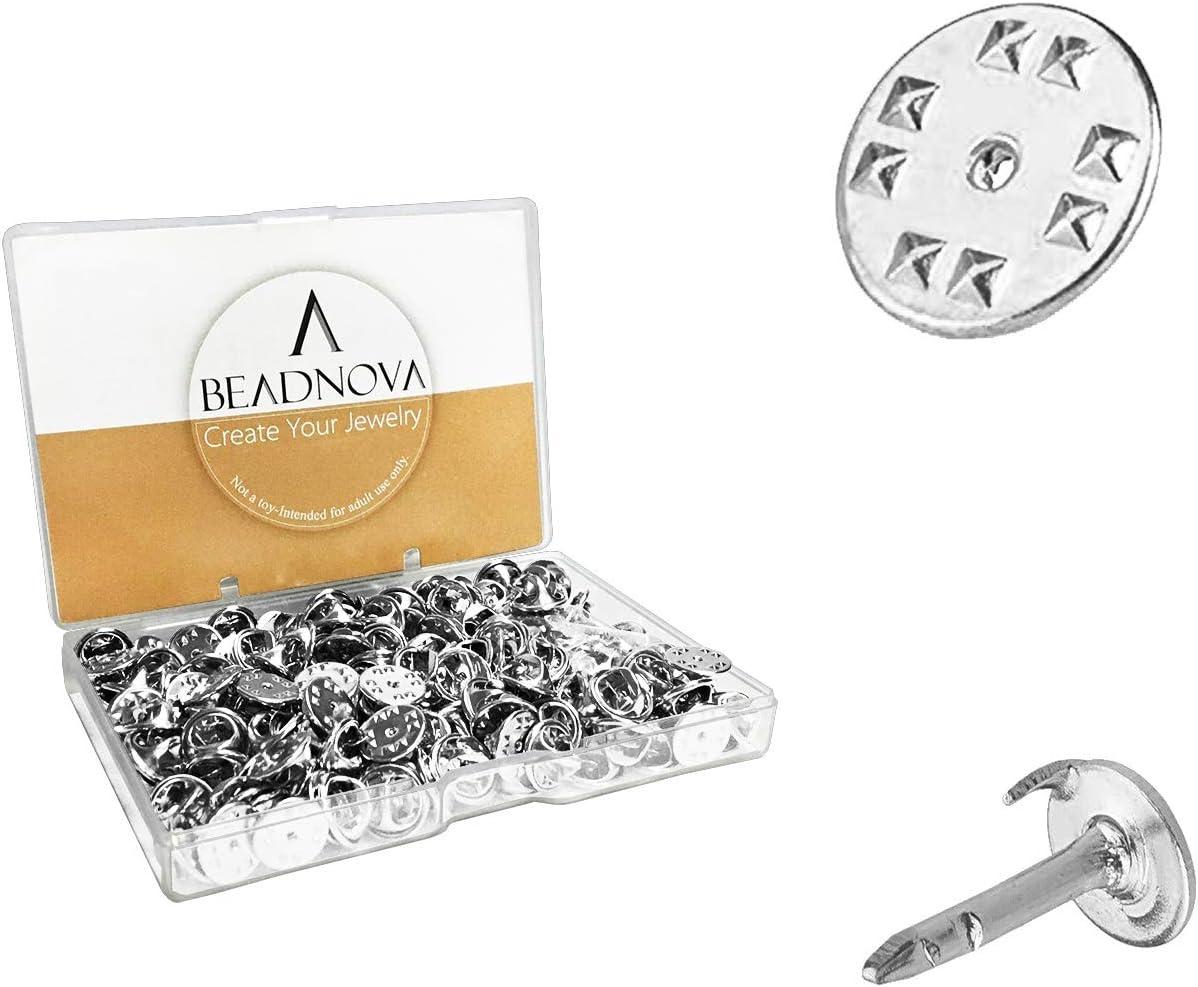 BEADNOVA 300 Pairs Butterfly Pin Backings Clutch Tie Tacks Lapel Pin Backs Enamel Pin Backs Blank Pins with Pin Backs (Silver, 300 Sets)
