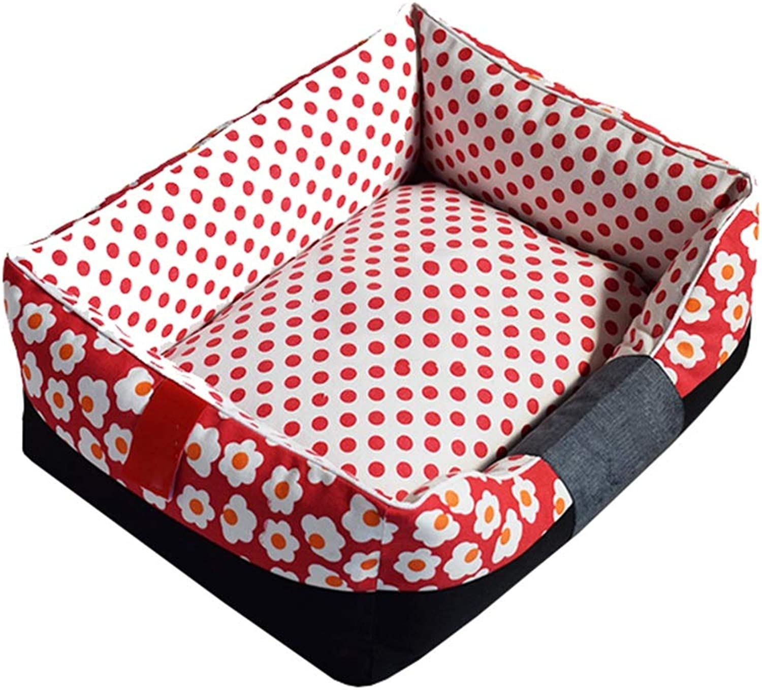 Dog Bed, Cotton Printed Canvas Fabric Oxford Soft And Comfortable Kennel Dog Bed Dog Mat Cat Dog Sofa Four Seasons Pet Nest (color   RED, Size   M)