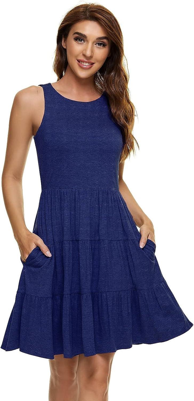 UGUEST Women's Sleeveless Sundress with Pockets Round Neck Ruffl
