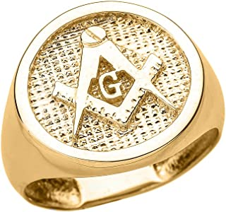 Solid 10k Yellow Gold Square and Compass Masonic Men's Ring