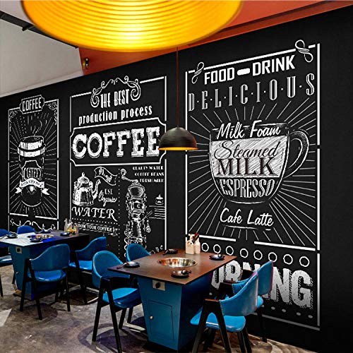 YIERLIFE Autoadhesivo Tela no tejida 3D infantil mural - Jarra de cerveza de letras blancas negras abstractas creativas retro - Fotomural para Pared Fondo Fotomural para Paredes Decoración comedores,