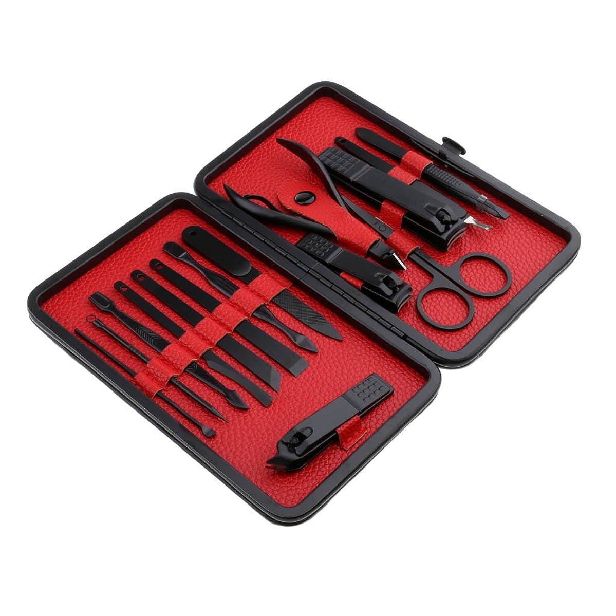 滑るアスレチックプログレッシブPerfk 約15点入り 爪やすりセット ステンレス製 ネイル マニキュア ネイルカッター クリッパー 人間工学 高品質 PUレザーケース付き 2色選べる - 赤