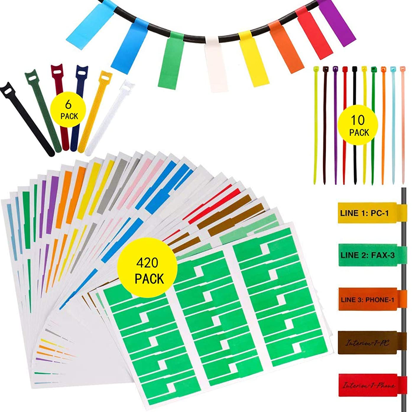 420 Pcs Cable Tags Cable Labels Stickers Waterproof Cable Markers Printable and Handwriting Cable Organizer, 6 Pieces Reusable Hook and Loop Cord Straps and 10 Nylon Wire Straps