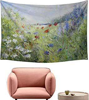 Agoza Wall Tapestry Flower Summer Terrace Gate with Colorful Flowers in a Garden House in Greece Image Wall Tapestry for Bedroom 90