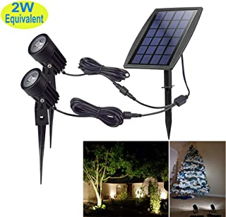 Led Solar Powered landscape Spotlights, DLLT Waterproof Outdoor Landscaping Lights, 2-in-1 Solar Garden Exterior Wall Light for Tree Flag Yard Pool Lawn Driveway Security Lamps, Wireless Daylight