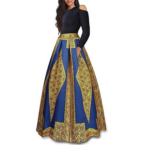 fa892e336c4 VLUNT Women s African Floral Print A Line Long Skirt Pockets Two Pieces Maxi  Dress