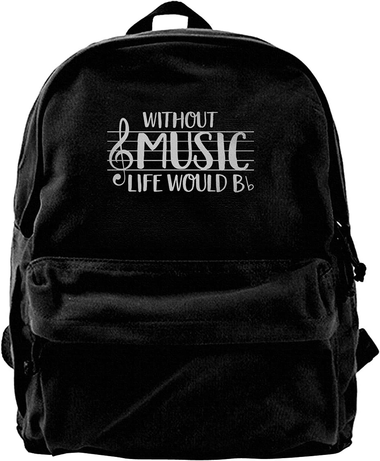 Without Music Life Would B Flat Fashion Lightweight Canvas Shoulder Backpack for Women & Men