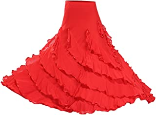 D DOLITY Frauen Tanzkostüm Salsa Tango Cha Cha Spanischen Flamenco-Kleid Maxirock Tanzrock Tanzkleider Ballsaal