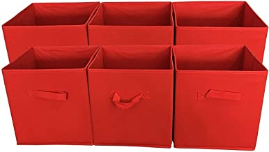 Sodynee® Foldable Cloth Storage Cube Basket Bins Organizer Containers Drawers, 6 Pack, Red