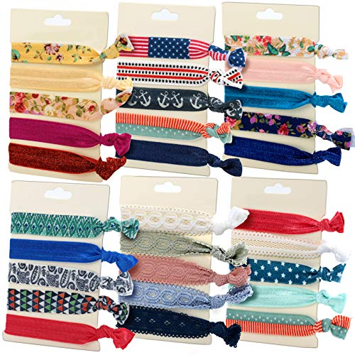30PCS Elastic Hair Ties,FANDAMEI Printed Patterns and Multi-Colors,Elastic Hair Ribbon Bands and Bracelet, No Crease Hand Knotted
