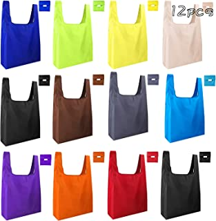 KUUQA 12 Pack Reusable Grocery Bags Reusable Shopping Bags with Pouch Grocery Bags Foldable for Shopping, Travel(Colorful)