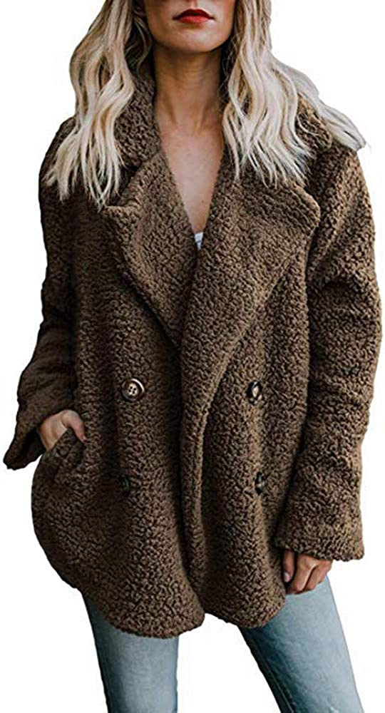 WOCACHI Womens Faux Coat Artificial Cheap mail order sales Winte Super beauty product restock quality top! Warm Lapel Wool Jacket