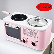HIGHKAS Máquina Desayuno multifunción, Mini Horno eléctrico Frito, al Vapor, a la Parrilla e Integrado, confiable eficiente, lo Ayuda a Preparar deliciosos Alimentos, también es Rosa