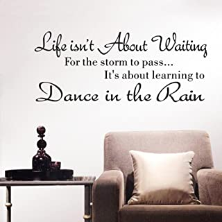 Vacally Wall Decor Stickers Letter Wall Stickers Quote Dancing in rain Wall Decal Words Life Isn't About Waiting Removable Art Vinyl Mural