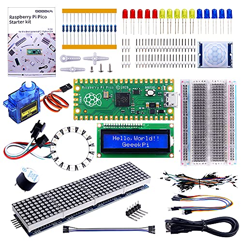 GeeekPi Raspberry Pi Pico Basic Starter Kit Mit Raspberry Pi Pico Steckbrett, Header, I2C 1602 LCD-Anzeigemodul, MAX7219 8 x 32 Matrix RGB 4In1 Für Raspberry Pi Anfänger & Software Engineer